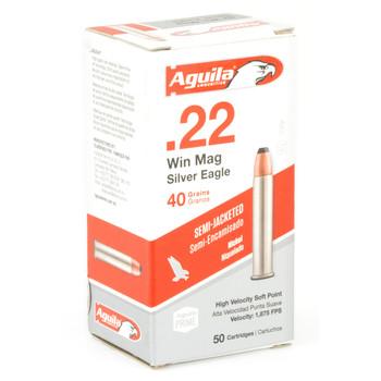 Aguila Ammunition 22WMR, 40 Grain, Soft Point, Nickel, 50 Round Box 1B222400, UPC :640420001470