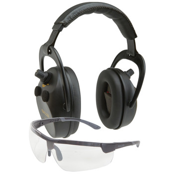 Allen -Axion Electronic Lo-Profile Earmuff & Glasses Combo, Black Finish, NRR 25 Rated, Anti-fog/Clear Lense for Glasses, Requires 2 AAA Batteries (Not Included) 2335, UPC : 026509010470