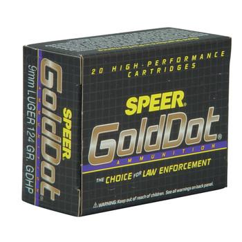 CCI/Speer Speer Gold Dot, 9MM, 124 Grain, Hollow Point, 20 Round Box 23618, UPC : 076683236180