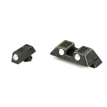 Glock Glock OEM Night Sight Set, 6.5mm, Fits Glocks G17, G19, G22, G23, G26, G27, G33, G34, G35, G37, G38, G39, Does Not Fit 42/43, Green Dot, Steel 39928, UPC :764503019210