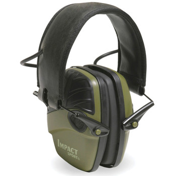 Howard Leight Impact Sport, Electronic Earmuff, Folding, OD Green R-01526, UPC : 033552015260