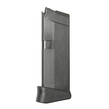 Glock OEM Magazine, 9MM, 6Rd, Fits GLOCK 43, Grip Extension, Cardboard Style Packaging, Black Finish MF08844, UPC :764503003950