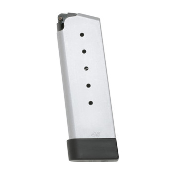 Kahr Arms Magazine, 45ACP, 6Rd, Fits PM45, Grip Extension, Stainless Finish K625G, UPC :602686128070