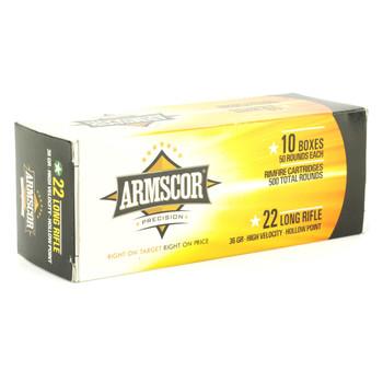 Armscor Ammo, 22LR, 36Gr, Hollow Point, Hi-Velocity, 500 Round Brick 50015PH, UPC :4806015501930
