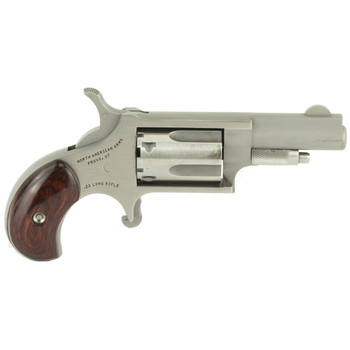 """North American Arms Mini Revolver, Single Action, 22LR, 1.625"""" Barrel, Steel Frame, Stainless Finish, Wood Grips, Fixed Sights, 5Rd NAA-22LLR, UPC :744253000010"""