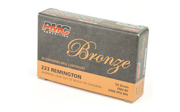 PMC Bronze, 223REM, 55 Grain, Full Metal Jacket, 20 Round Box 223A, UPC :741569060080