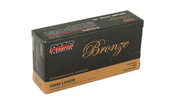 PMC Bronze 9MM, 115 Grain, Full Metal Jacket, 50 Round Box 9A, UPC :741569070270