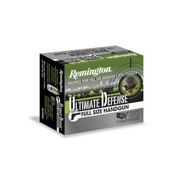 Remington Ultimate Defense, 45 ACP, 185 Grain, Brass Jacketed Hollow Point, 20 Round Box 28971, UPC : 047700473000