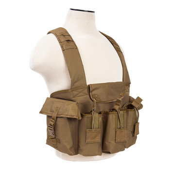 NCSTAR AK Chest Rig, Tan, Holds (6) AK Magazines, Nylon, Also includes One Belly Pouch for Additional Equipment and Two Gear Pouches CVAKCR2921T, UPC :814108016630