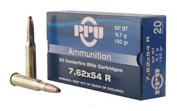 Prvi Partizan Rifle, 762X54R, 150 Grain, Soft Point, 20 Round Box PP76254S, UPC :8605003812890