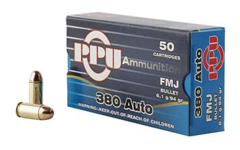 Prvi Partizan Pistol, 380 ACP, 94 Grain, Full Metal Jacket, 50 Round Box PPH380AF, UPC :8605003813040