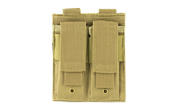 NCSTAR Double Pistol Magazine Pouch, Nylon, Tan, MOLLE Straps for Attachment, Fits Two Standard Capacity Double Stack Magazines CVP2P2931T, UPC :814108017170