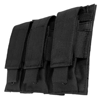 NCSTAR Triple Pistol Magazine Pouch, Nylon, Black, MOLLE Straps for Attachment, Fits Three Standard Capacity Double Stack Magazines CVP3P2932B, UPC :814108017200
