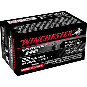 Winchester Ammunition Rimfire, 22WMR, 34 Grain, Jacketed Hollow Point, 50 Round Box S22WM, UPC : 020892101210