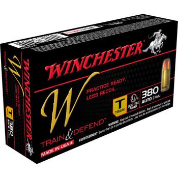 Winchester Ammunition W - Train & Defend, 380ACP, 95 Grain, Full Metal Jacket, Low Recoil, 50 Round Box W380T, UPC : 020892220430