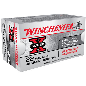 Winchester Ammunition Super-X Subsonic, 22WMR, 45 Grain, Jacketed Hollow Point X22MSUB, UPC : 020892103900