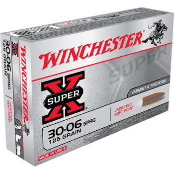Winchester Ammunition Super-X, 30-06, 125 Grain, Pointed Soft Point, 20 Round Box X30062, UPC : 020892200340