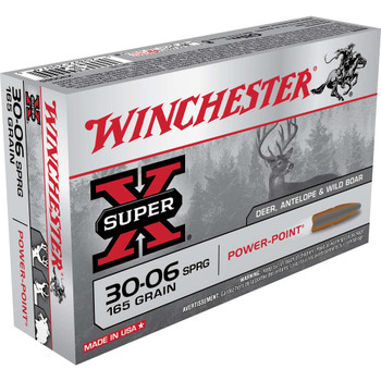 Winchester Ammunition Super-X, 30-06, 165 Grain, Power Max Bonded, 20 Round Box X30065, UPC : 020892200760