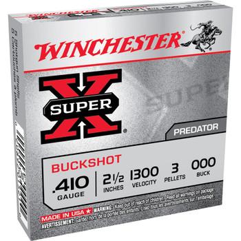 "Winchester Ammunition Super-X, 410 Gauge, 2.5"", Buckshot, 3 Pellets,5 Round Box XB41000, UPC : 020892015210"