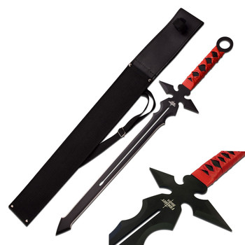 Fantasy Master Short Blade Sword 26in Overall w/ Red Handle, UPC :805319124320