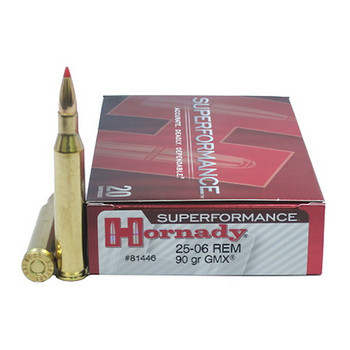 Hornady Superformance GMX Ammunition 25-06 Remington 90 Grain GMX Boat Tail Lead-Free Box of 20, UPC : 090255814460