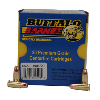 Buffalo Bore Ammunition 9mm Luger +P+ 115 Grain Barnes TAC-XP Hollow Point Lead-Free Box of 20, UPC :651815024080