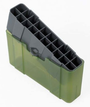 Plano Ammo Box 25-06 Remington, 280 Remington, 30-06 Springfield 20-Round Plastic Olive Drab and Clear Green, UPC : 024099123020