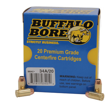 Buffalo Bore Ammunition 9x18mm (9mm Makarov) 95 Grain Jacketed Hollow Point Box of 20, UPC :651815034010