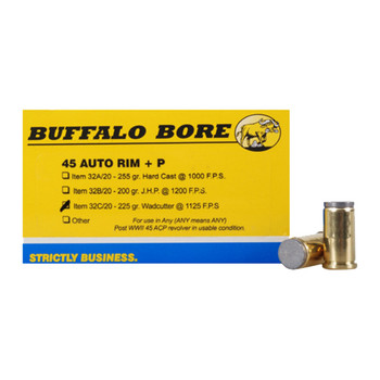 Buffalo Bore Ammunition 45 Auto Rim (Not ACP) +P 225 Grain Hard Cast Lead Wadcutter Box of 20, UPC :651815032030