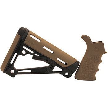 AR-15/M-16 Kit - Finger Groove Beavertail Grip and OverMolded Collapsible Buttstock - Fits Commercial Buffer Tube - Flat Dark Earth Rubber, UPC :743108153550
