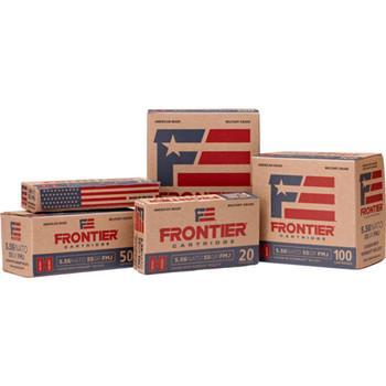 CASE OF 4 FRONTIER 5.56 NAT 55GR FMJ AMMO 150/BX, UPC : 090255711400