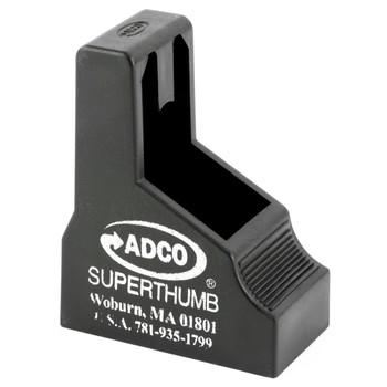 ADCO Super Thumb, Mag Loader, Black Finish, Fits Double Stack 380ACp Magazines, Fits Glock 42, Beretta 84, Bersa Thunder Plus, Browning BDA ST5, UPC :733315010005