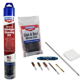 """Birchwood Casey Universal Handgun Cleaning Kit, 1 Cleaning Rod Section 11"""", 1 Dual Axis Utility Handle, 1 .22 Patch Puller, 1 .22 Bronze Brush, 1 .38 Bronze Brush, 1 .40 Bronze Brush, 1 .45 Bronze Brush, 1 Silicone Gun and Reel Cloth, 25 Patches 2.25"""