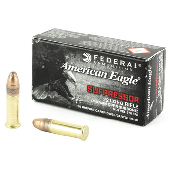Federal American Eagle, Suppressor Ammunition, 22LR, 45 Grain, Copper Plated Lead Round Nose, 50 Round Box AE22SUP1, UPC : 029465058265