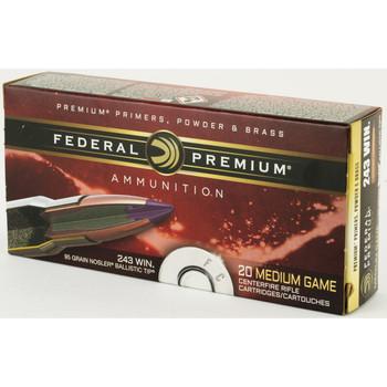 Federal Vital-Shok, 243WIN, 95 Grain, Nosler Ballistic Tip, 20 Round Box P243J, UPC : 029465096625