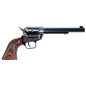 "Heritage Rough Rider, Single Action Army Revolver, 22LR/22WMR, 6.5"" Barrel, Alloy Frame, Simulated Case Hardened Finish, Camo Laminate Grips, Fixed Sights, 6Rd, Right Hand 22MCH6, UPC :727962503805"