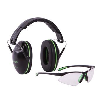 Allen Gamma Junior Earmuff & Glasses Combo, Black/Green Plastic, NRR 23 Rated, Anti-fog/Clear Lenses, Adjustable, Foldable 2325, UPC : 026509018995