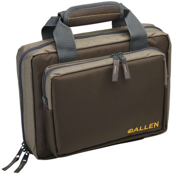 """Allen Tactical Duoplex Attache, Dual Pistol Case, Green, Polyester Fabric, 11.5""""X9"""",  Soft Tricot Lining In Gun Compartments, Polyester Lining In Magazine Pockets, Padded Handle, Lockable Zipper 7602, UPC : 026509076025"""