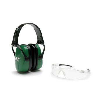 Howard Leight Shooting Combo Kit Earmuff Green , Ultra Light, NRR 25, Anti-fog, Clear Glasses R-01761, UPC : 033552017615