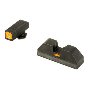 AmeriGlo CAP - Combative Application Pistol Sight, Fits Glock 20,21,29,30,31,32,36, Green/Orange, Green Tritium Front Sight With Orange Lumi Outline, Rear Sight with Orange Lumi Horizontal Center Line GL-617, UPC :644406905875