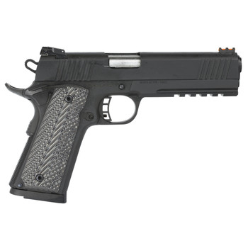 """Armscor Rock Island 2011, Full Size Pistol, 45ACP, 5"""", Steel Frame, Parkerized Finish, VZ Tactical Grips, Adjustable Sights, Ambidextrous, 8Rd, Full Dust Cover Picatinny Rail, Extended Beaver Tail, Ambidextrous Safety, Full Length Guide Rod, with Fir"""