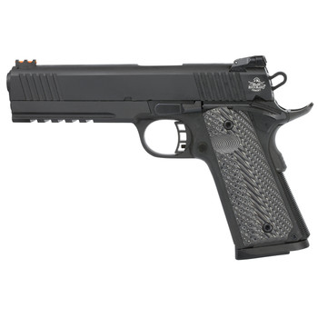 "Armscor Rock Island 2011, Full Size Pistol, 45ACP, 5"", Steel Frame, Parkerized Finish, VZ Tactical Grips, Adjustable Sights, Ambidextrous, 8Rd, Full Dust Cover Picatinny Rail, Extended Beaver Tail, Ambidextrous Safety, Full Length Guide Rod, with Fir"