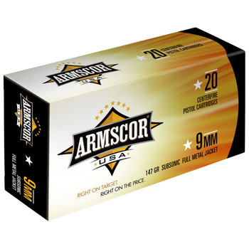 Armscor 9MM, 147 Grain, Full Metal Jacket, Subsonic, 50 Round Box FAC9-5N, UPC :812285022765