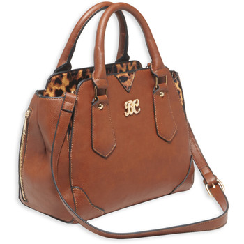 Bulldog Cases Satchel Style Purse, Leather, Universal Fit Holster Included, Chestnut w/Leopard Trim BDP-024, UPC :672352009385