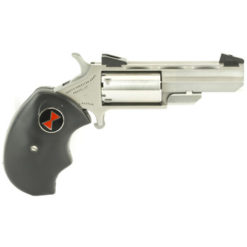 """North American Arms Black Widow, Single Action, 22LR/22WMR, 2"""" Barrel, Steel Frame, Stainless Finish, Rubber Grips, Fixed Sights, 5Rd NAA-BWC, UPC :744253000355"""