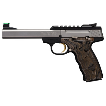 "Browning Buck Mark, Plus, Semi-Automatic, 22LR, 5.5"" Barrel, Aluminum Frame, Stainless Finish, Wood Grips, 10Rd, Fiber Optic Front Sight 051531490, UPC : 023614444015"