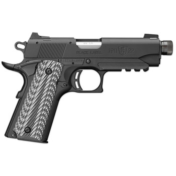 """Browning 1911-22, Black Label, Suppressor Ready With Rail, Semi-automatic, Compact, 22LR, 4.25"""" Threaded Barrel, Aluminum Slide And Frame, Black Finish, Composite Grips, 10Rd, 051821490, UPC : 023614044185"""