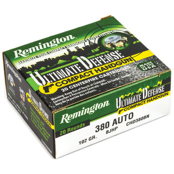 Remington Comp Handgun Defense Ammuntion, 380ACP, 102 Grain, Brass Jacketed Hollow Point, 20 Round Box 28964, UPC : 047700427805