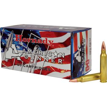 Hornady American Gunner, 223 Rem, 55 Grain, Hollow Point, 50 Round Box 80237, UPC : 090255802375
