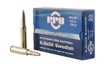 Prvi Partizan Rifle, 6.5X55 Swedish, 139 Grain, Full Metal Jacket, 20 Round Box PP6SWF, UPC :8605003812715